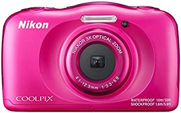 Nikon Coolpix W100 13.2 MP Point and Shoot Digital Camera (Pink) with 3X Optical Zoom, Card and Camera Case