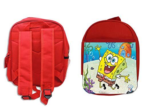 MOCHILA ROJA BOB ESPONJA DIBUJO PIÑA MAR backpack rucksak