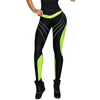 MOIKA Damen Yoga Hosen, Mid Waist elastische Leggings Sport Leggings Damen Jogging-Hosen Yoga Fitnesshose für Damen Training Fitness Sport Gym Running Hosen mit Druck(XL,Grün)