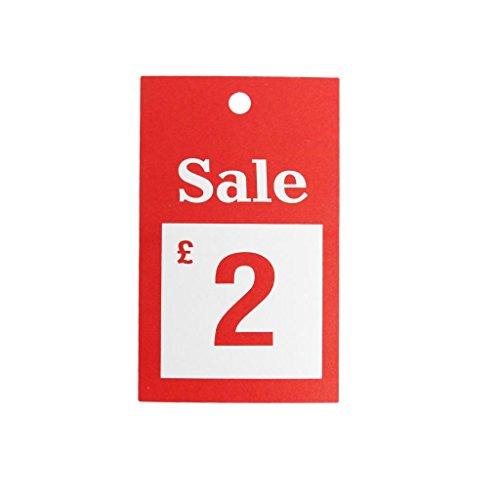 New 100x Verkauf £2Für große Karten reduzierten Preis Tagging Gun Karte Pricing Kleiderbügel Swing Tickets Zahlen Karten