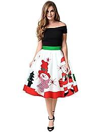Mujer Navidad Falda, Covermason Dulce Christmas Monigote de Nieve Papá Noel Impresión Ombre Ropa