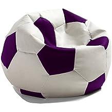 Hagoelvago - Vagofunseats-puff futbol-polipiel,colores Real Madrid medidas 45asiento 65h x 60 ø cm aprox, color blanco / malva