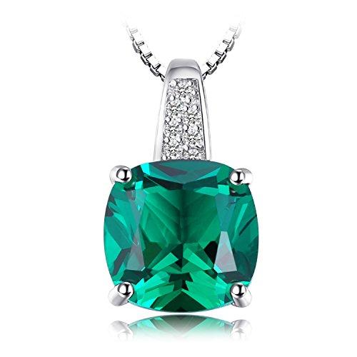 Jewelrypalace 3.42ct Grün Simulierte Prinzessin Schliff Nano Russisch Smaragd Anhänger Kette Halskette 925 Sterling Silber Damen