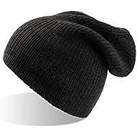 BR-6 oversized Beanie - Strickmütze für Damen und Herren grau schwarz