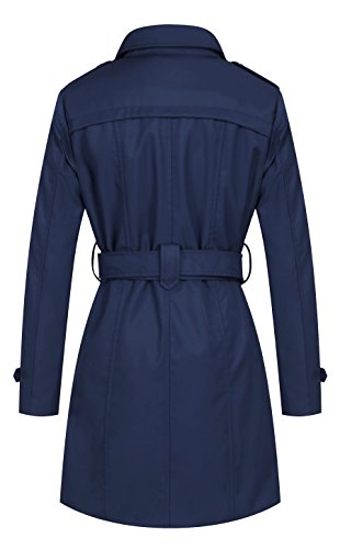 Wantdo Damen Mantel Zweireiher Lange Trenchcoat mit Gürtel Navy Small - 2