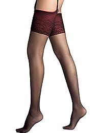 Bas femme pour porte jarretelles - noir jarretière rouge - 15 deniers