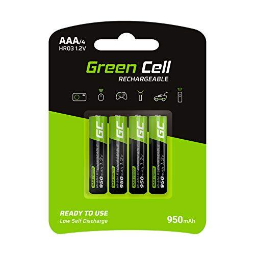 Green Cell 950mAh 1.2V 4 Stck Vorgeladene NI-MH AAA-Akkus - Akkubatterien AAA/Micro, sofort einsatzbereit, Starke Leistung, geringe Selbstentladung, wiederaufladbare Akku Batterie, ohne Memory-Effekt