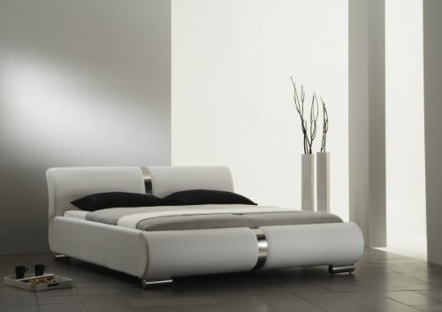 Dreams4Home Polsterbett mit Kunstlederbezug 'Milo' 160, 180 o. 200×200 cm, Weiß, Liegefläche:200×200 cm