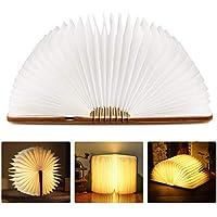 Tronisky LED Buchlampe Faltbare Stimmungsbeleuchtung Tischlampe Nachttischlampe Dekorative Warmweiß Lampen mit USB Wiederaufladen, aus Wasserdichtes Papier + Holz Einband, 880mAh