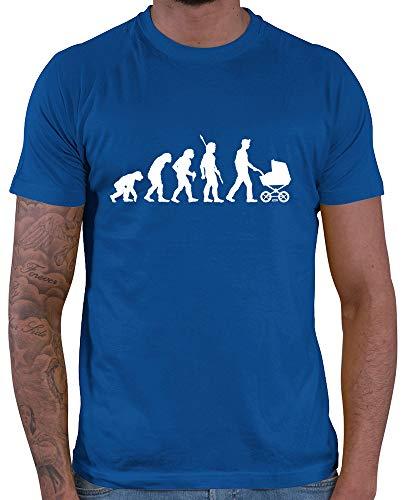 HARIZ  Herren T-Shirt Papa Evolution 2 Männer Vater Vatertag zur Geburt Inkl. Geschenk Karte Royal Blau M