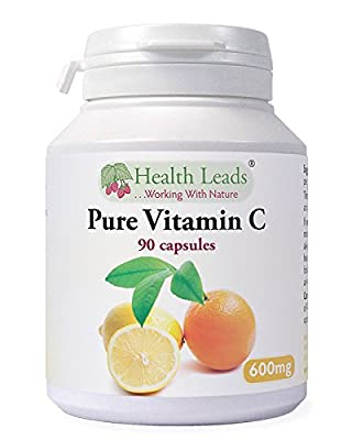 Pure Vitamin C 600mg x 90 capsules - 100% Additive Free by Health Leads UK
