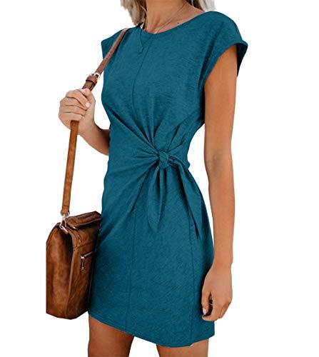 Woweal Minikleid Damen Sommer Mode T-Shirt-Kleid Einfarbig Kurzarm Kleider Tunikakleid Partykleid...