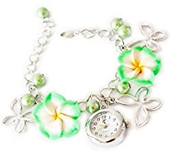 Girlz! Metal bracelet with watch For Women (Green)