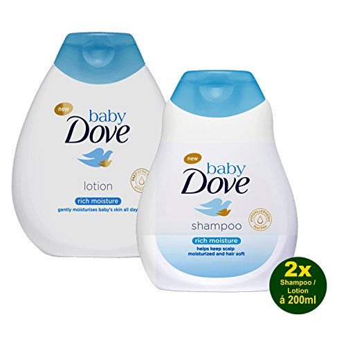 Baby DOVE Rich Moisture Shampoo & Lotion 2x 200ml Pflege-Set - sanft, hypoallergen und pH-neutral