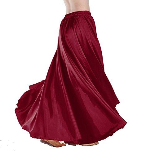 Bauchtanz-Satin langes Kleid Rock 90cm Gummibund Tribe entwerfen wunderbares Geschenk, Großbühneneffekt, Tanz Team / Gruppen, Passende einen schwarzen Blume Haar-Clip (rotbraun) (Tanz-rock Lange)
