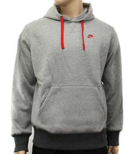 Nike Herren Grau/Rot Kapuzen Sweatshirt Hoody Größe L Nike Logo Hoody