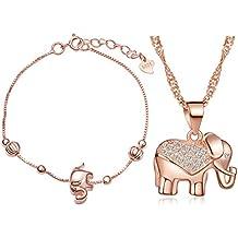 289207aa88dd Juegos de Joyas Yumilok Oro Rosa Plata de ley 925 circonita elefante Charm  Collar Joyas Set
