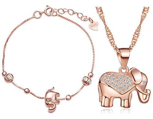 Juegos de Joyas Yumilok Oro Rosa Plata de ley 925 circonita elefante Charm Collar Joyas Set pulsera de cadena & Cadena con colgante Set para mujer Chica
