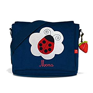 Kindergartentasche & Kindergartenrucksack in einem: Marienkäfer für Mädchen (mit Namen) in blau