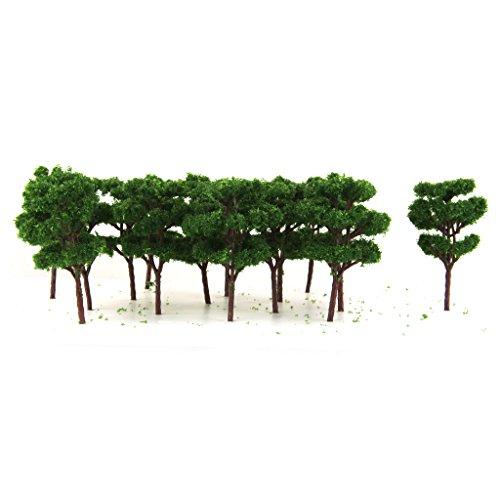 25pcs 6.8cm Dunkelgrünen Bäumen Modell Eisenbahn-Set Gartenlandschaft Layout Z Skala