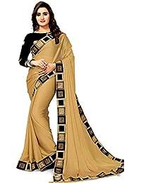 e5cb24ed76 Morpich Fashion Womens Chiffon Saree With Blouse Piece(CreamChiffon)
