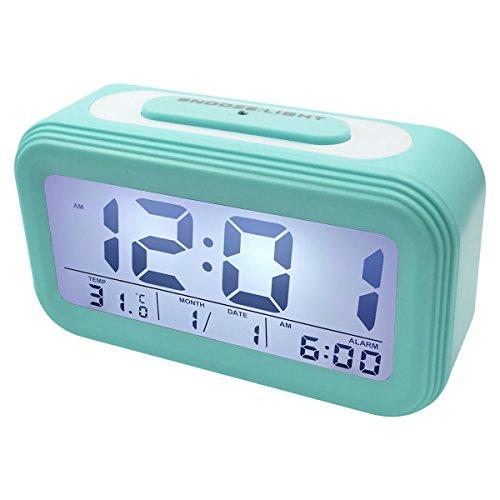 EASEHOME Sveglia Digitale, Sveglie da Comodino Elettronica Grande LCD Display Data Temperatura Orologio Batteria Funzione Snooze Luce Notturna Allarme Forte Silenziosa per Bambini, Blu