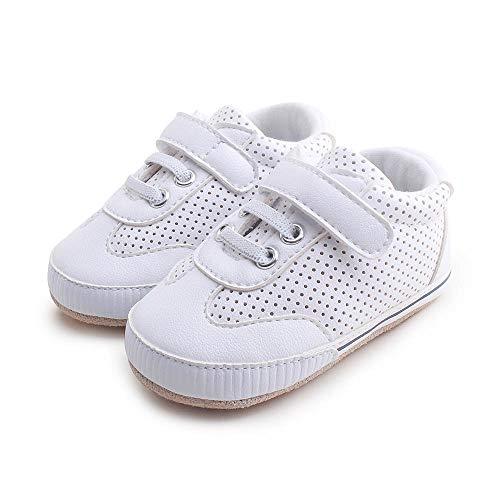 Delebao scarpe bambino in morbida pelle baby scarpe per primi passi scarpette neonato scarpe bambina ragazza ragazzo w bianco 6-12 mesi