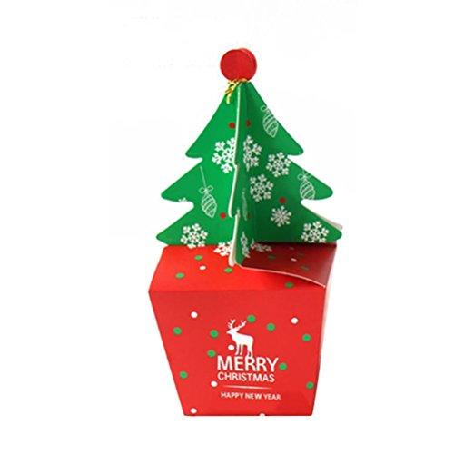 (dealglad 50Stück Weihnachtsbaum Design Candy Box Party Papier für Geschenk Cupcake Weihnachts Süßigkeiten Verpackung Box, as pic, S)