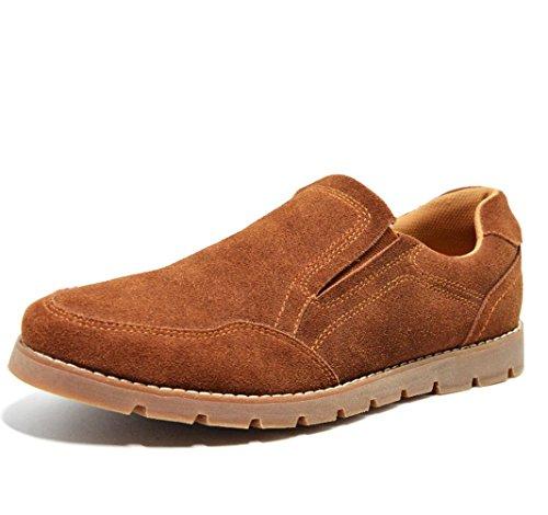 Heart&M orteil rond casual hommes fouler les chaussures en cuir suédé deep brown