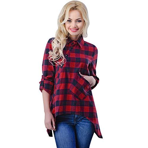 ZIYOU Damen Kariert Blusen Freizeit Langarm Plaid T Shirt Top Frauen Beiläufige Button-down Oberteile Sweatshirt (EU-38 / CN-L,Rot)
