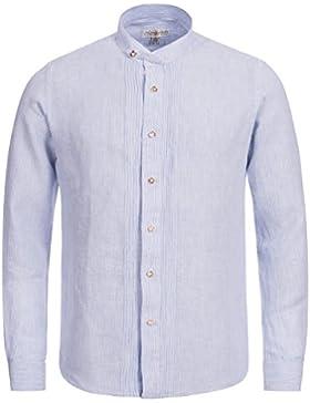 Almsach Trachtenhemd Slim Fit in Hellblau | Leinenhemd