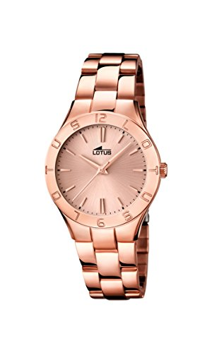 Lotus Women's Quartz Watch with Rose Gold Dial Analogue Display and Stainless Steel Rose Gold Plated Bracelet 15898/2