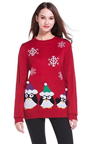 *daisysboutique* Damen Weihnachten Pinguine gestrickte Pullover M dchen Pullover XX-Large Penguins