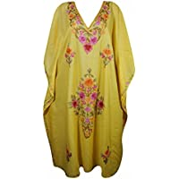 Women Kaftan Maxi Dresses Embroidered Yellow Cotton Resort wear Kimono Caftan One Size