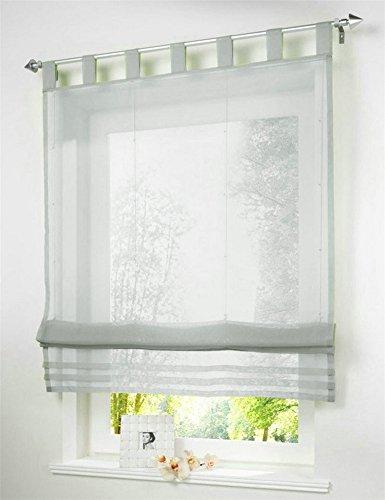 1 Stueck Raffrollo Schlaufen Gardinen Fenster-Vorhang Schal,B 120cm * H 155cm Hellgrau