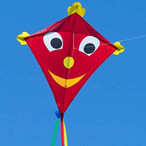 CIM Großer Kinder-Drachen - SUPER DRACHEN Happy Eddy XL - Einleiner Flugdrachen für Kinder ab 6 Jahren - 102x108cm - inklusiv 80m Drachenschnur und Streifenschwänze
