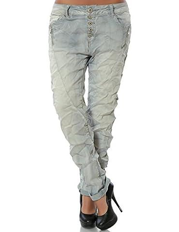 Damen Boyfriend Jeans Hose Reißverschluss Knopfleiste (weitere Farben) No 14242, Farbe:Grau;Größe:34 / XS