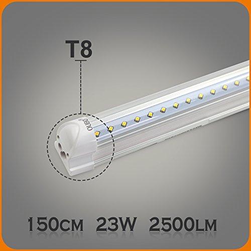 OUBO 150cm LED Leuchtstoffröhre komplett Set mit Fassung kaltweiss 6500K 23W 2300lm Lichtleiste T8...