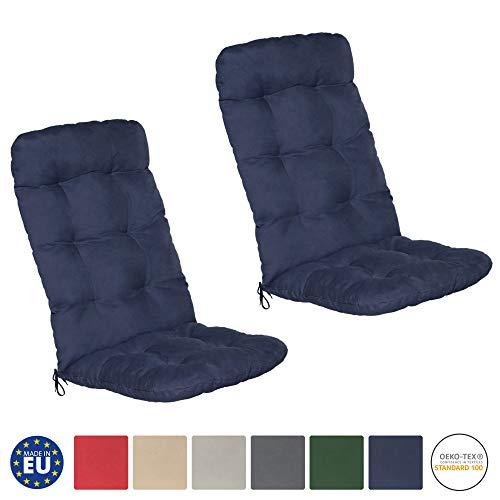 Beautissu set di 2 cuscini per sedia a sdraio flair hl 120x50x8cm extra comfort per sedie reclinabili, spiaggine e poltrone - blu scuro