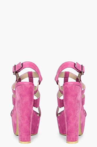 Damen Rosa Georgia Plateau-sandalen Mit Absatz Und Raffiniertem Design Rosa