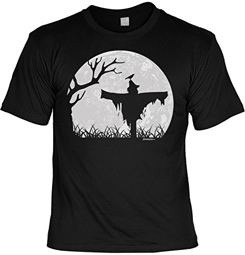 Fun Shirt für Halloween - Vogelscheuche im Mondschein - Alternatives Kostüm, Verkleidung - Lustiges Outfit für die Halloween Party - schwarz (Halloween-vogelscheuchen)