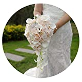 ZT-shop Wasserfall Rosa Blumen-Brautsträuße Kunstperlen Kristall Hochzeit Bouquets Bouquet De Mariage Rose, Brautstrauß
