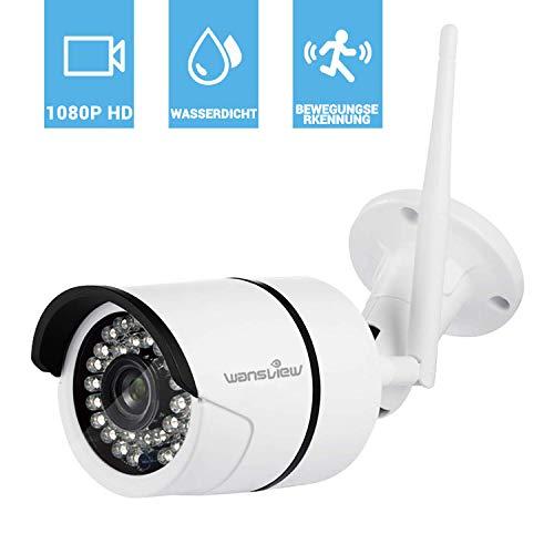 Wansview WLAN IP Kamera, Sicherheitskamera 1080P HD für Außen, IP Cam mit LAN und WLAN Verbindung, IP66 wasserdichte, Infrarot Nachtsicht, Deutsche App und Anleitung Weiß - Mobile-app Herunterladen