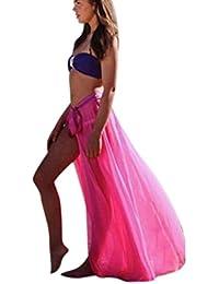599102f80f Pingtr Women Bikini Cover Up, Women Hollow Out Loose Fit Crochet Swimwear  Sheer Beach Maxi