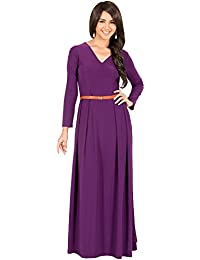 KOH KOH® La Mujer Vestido maxi largo escote V manga larga elegante