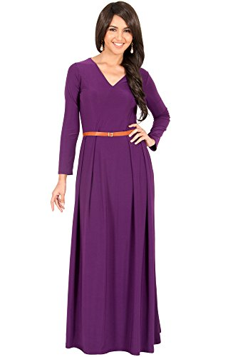 te Langarm Maxikleid Elegant Abendkleid V-Ausschnitt, Farbe Violett / Lila, Größe S / Small (1) (Graduation Themes)