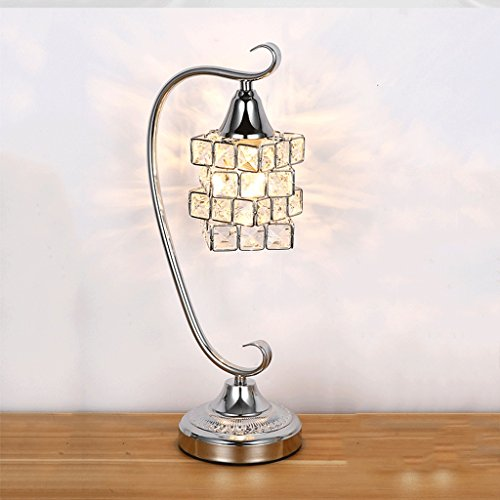 WOOE Kristall Tischlampe Chrom Finish Moderne minimalistische Tischlampe Button kreative Dekoration Europäische Stil Artikel Bettdecke Schlafzimmer Licht (High: 45cm / 17.71in) (Kristall-kronleuchter Finish Gold)