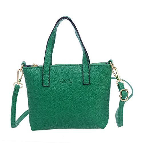Transer Women Shoulder Bag Popular Girls Hand Bag Ladies Leather Handbag, Borsa a spalla donna Grey 20cm(L)*15(H)*4cm(W) Green