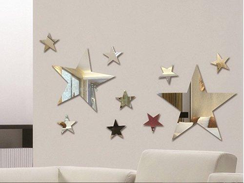 Set di pezzi creative Five Stars Mirror Wall Sticker camera da letto ...