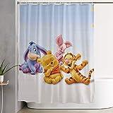 NHUXAYH Tenda per Doccia Winnie The Pooh Stampa Artistica, Collezione di Decorazioni per Il Bagno in Tessuto di Poliestere con Ganci 60X72 Pollici